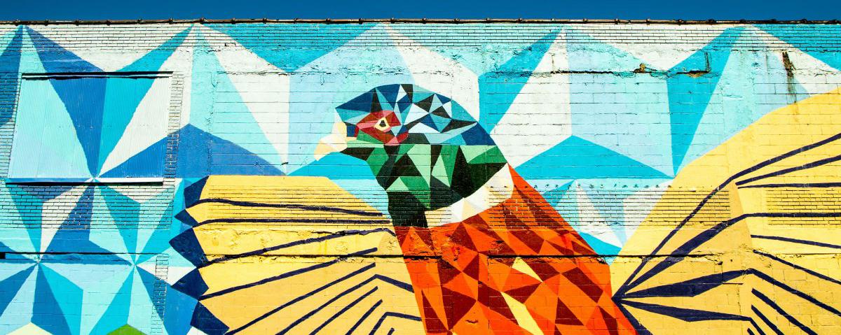 Mural of a bird