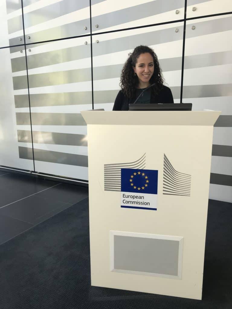 Ariella Amit, 2021 Valedictorian, at a podium at the EEC